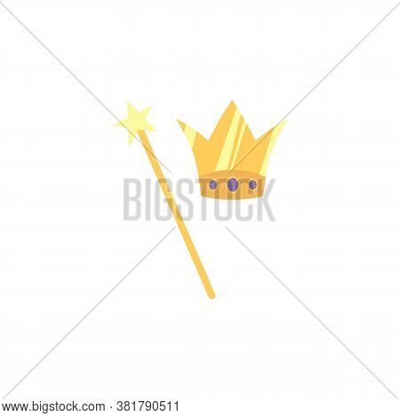 Golden Royal Crown And Magic Wand Stick Set Isolated On White Background