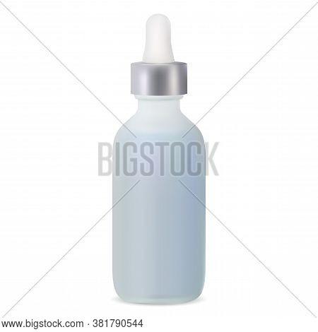 Matt Glass Dropper Bottle For Serum. Vector Mockup Of Isolated Medical Flask For Essential Oil. Natu