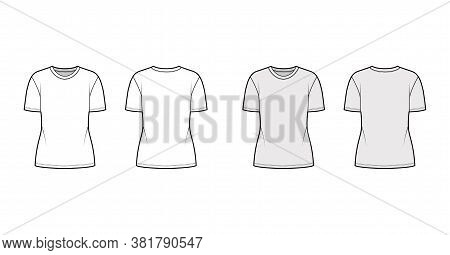 Cotton-jersey T-shirt Technical Fashion Illustration With Crew Neck, Short Sleeves, Tunic Length. Fl