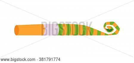 Birthday Party Celebration Element - Blower Flat Vector Illustration Isolated.