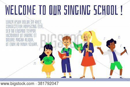 Singing School Banner With Singing Children Flat Vector Illustration Isolated.
