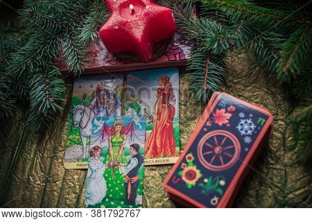 Mystical Atmosphere, View Of Tarot Card On The Table, Esoteric Concept, Fortune Telling And Predicti