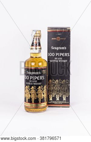 Palma, Mallorca, Spain - April 22 2019: Seagram's 100 Pipers De Luxe Scotch Whisky Bottle Whith His