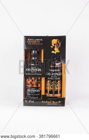 Palma, Mallorca, Spain - April 22 2019: Seagram's 100 Pipers De Luxe Blended Scotch Whisky Bottles I