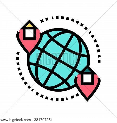 Rental House World Location Color Icon Vector. Rental House World Location Sign. Isolated Symbol Ill