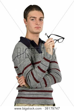 A Contemplative Man Holds His Glasses