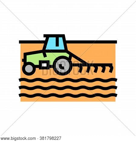 Tractor Cultivating Field Color Icon Vector. Tractor Cultivating Field Sign. Isolated Symbol Illustr