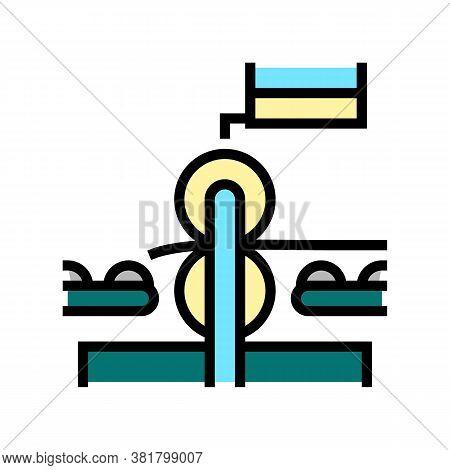 Pressing Wheels Conveyor Color Icon Vector. Pressing Wheels Conveyor Sign. Isolated Symbol Illustrat