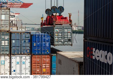 Hamburg, Germany - May 10, 2011: A Large Container Ship At The Container Terminal Altenwerder In Ham