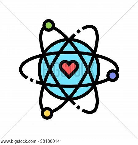 Atom With Heart Core Color Icon Vector. Atom With Heart Core Sign. Isolated Symbol Illustration