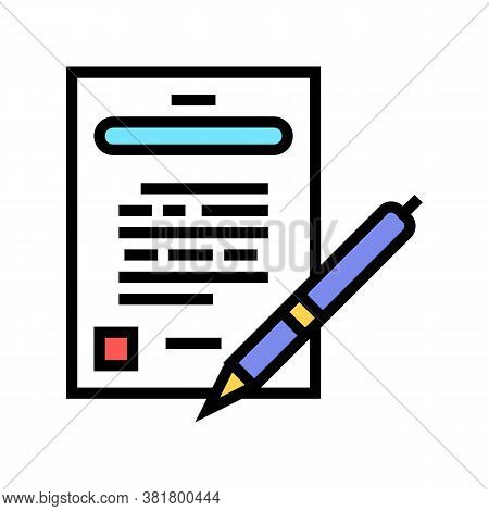 Agreement Signing Color Icon Vector. Agreement Signing Sign. Isolated Symbol Illustration