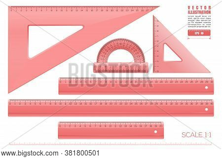 Red Plastic Transparent Measuring Rulers Set. Triangle Rulers, Measuring Rulers Of Different Sizes A