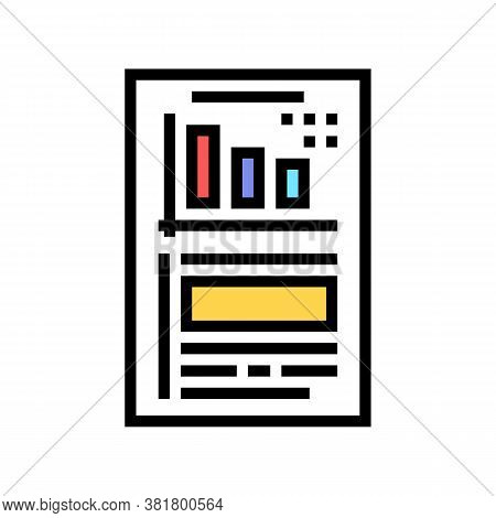 Financial Report Document With Chart Color Icon Vector. Financial Report Document With Chart Sign. I