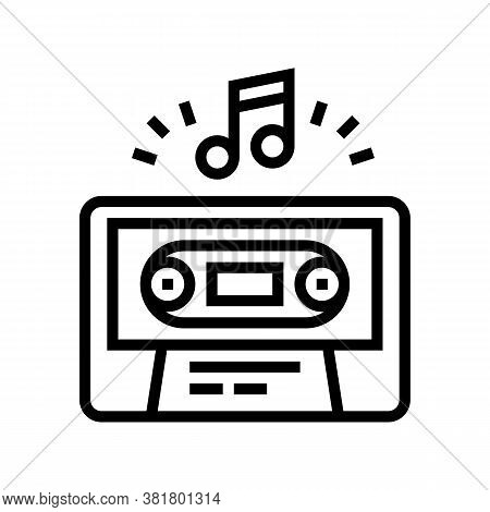 Audio Guide Cassette Line Icon Vector. Audio Guide Cassette Sign. Isolated Contour Symbol Black Illu