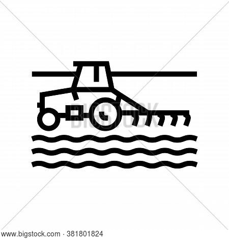 Tractor Cultivating Field Line Icon Vector. Tractor Cultivating Field Sign. Isolated Contour Symbol