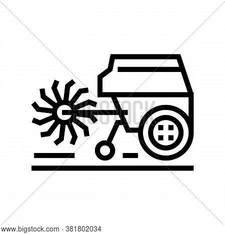 Cultivator Machine Line Icon Vector. Cultivator Machine Sign. Isolated Contour Symbol Black Illustra