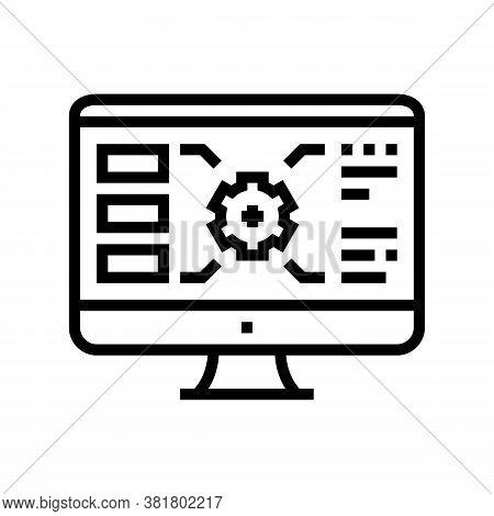 Gear Characteristics On Computer Screen Line Icon Vector. Gear Characteristics On Computer Screen Si