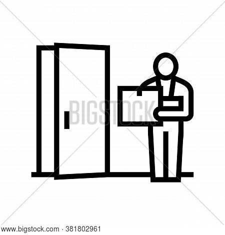 Courier Delivering Box Line Icon Vector. Courier Delivering Box Sign. Isolated Contour Symbol Black