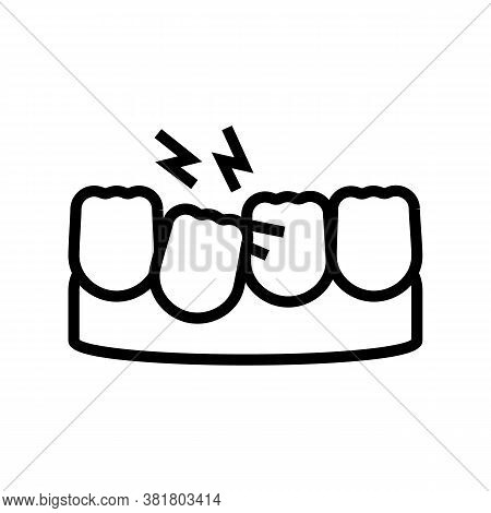 Loose Tooth Line Icon Vector. Loose Tooth Sign. Isolated Contour Symbol Black Illustration