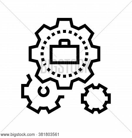 Mechanical Gears Line Icon Vector. Mechanical Gears Sign. Isolated Contour Symbol Black Illustration
