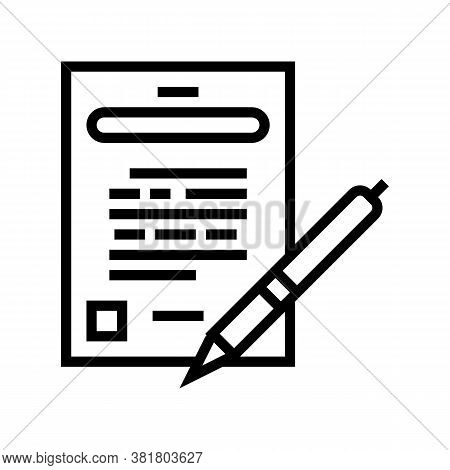 Agreement Signing Line Icon Vector. Agreement Signing Sign. Isolated Contour Symbol Black Illustrati
