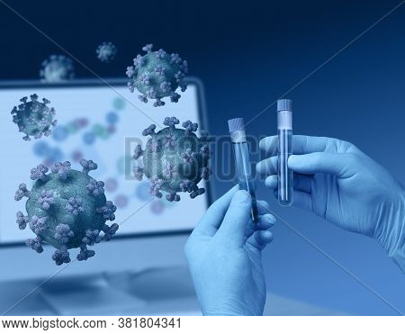 Hands Holding Test Tubes For Medical Analysis And Corona Virus Test
