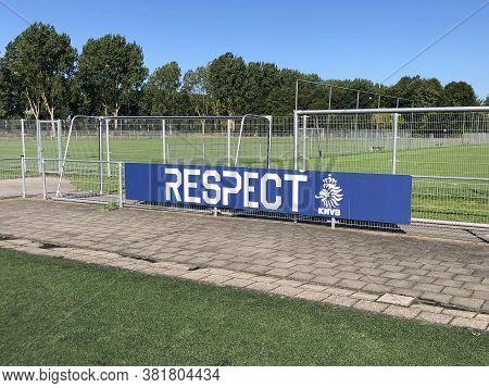 Almere Buiten, The Netherland - August 20, 2020: Royal Netherlands Football Association Billboard Pr