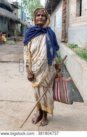 Portrait Of A Poor And Old Woman Of India From The Tribal Community