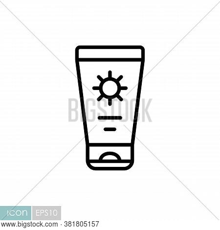 Sunscreen Cream In Tube Flat Vector Icon. Summer Sign. Graph Symbol For Travel And Tourism Web Site