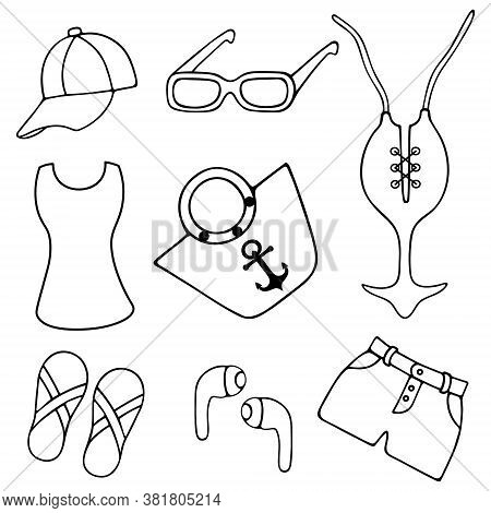 Female Collection. Sketch. Vector Set Of Illustrations. Outline On White Isolated Background. Doodle