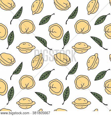 Seamless Pattern With Dumplings And Dried Bay Leaves On White Background. Pelmeni/pierogi Backdrop.