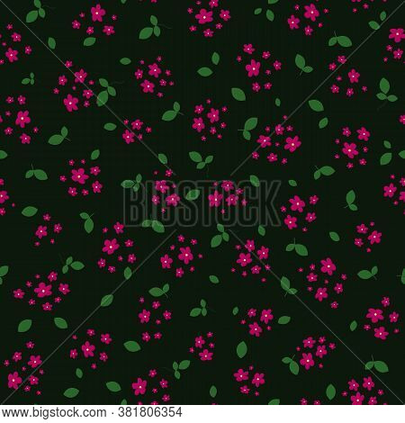 Ditsy Pattern. Simple Vector Seamless Texture With Small Red Flowers And Green Leaves On Black Backd