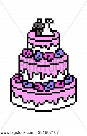 Pixel Art Three Tier Wedding Cake Decorated With Purple And Pink Roses, Dripping Icing And Bride And