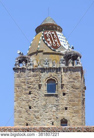 Alfiler Tower, A 14th Century  Gothic Belfry Adorned With Glazed Roof Tiles And Favourite Nesting Pl