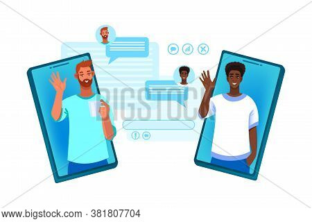 Video Call Illustration With Different People Talking In Internet, Smartphone Screens, Messages. Vir