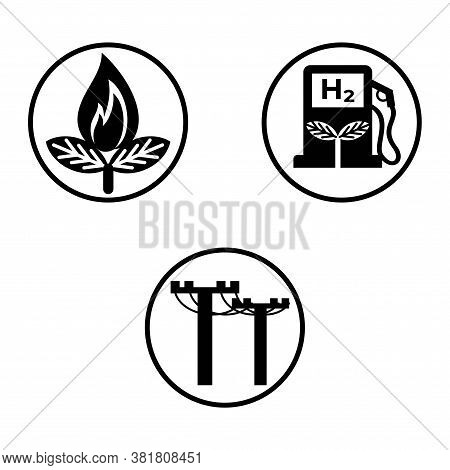 Three Round Black And White Icons Of Biogas, Green Hydrogen And Electricity. Simple Flat Vector Set
