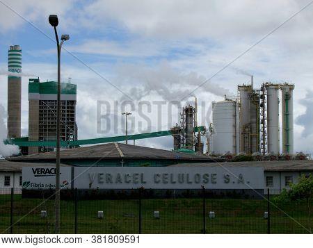 Eunapolis, Bahia / Brazil - January 27, 2011: Veracel Celulose Factory In The City Of Eunapolis, In