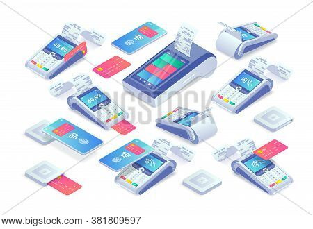Contactless Payments Isometric Set. 3d Cashless Payment Machine, Smartphone, Credit Card, Smart Term