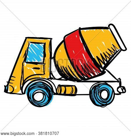 Childrens Drawing. Concrete Mixing Truck Vector. Flat Design. Industrial Transport. Construction Mac
