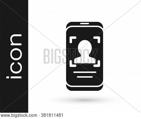 Black Mobile Phone And Face Recognition Icon Isolated On White Background. Face Identification Scann
