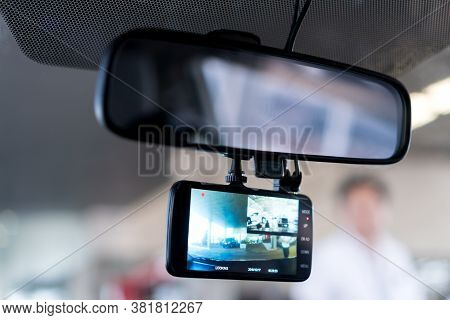 Car Camera Cctv Recorder Dashboard With Mirror Glass For Safety Road Accident While Driving, Cam Fro