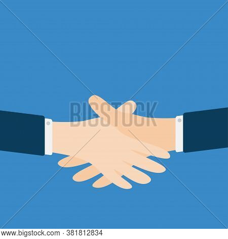 Handshake Icon. Two Businessman Hands Arms Reaching To Each Other. Shaking Hands. Close Up Body Part