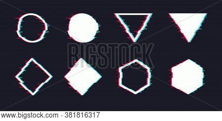 Vector Glitch Set. Digital Distorted Geometric Shapes Square, Triangle, Circle, Rhombus. Tv Distorti