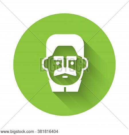 White Portrait Of Joseph Stalin Icon Isolated With Long Shadow. Green Circle Button. Vector