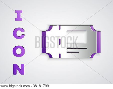 Paper Cut Museum Ticket Icon Isolated On Grey Background. History Museum Ticket Coupon Event Admit E