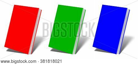 Blank Book Mockup Rgb With Shadow Isolated On White. Illustration 3d Rendering.