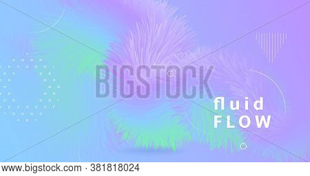 Vibrant Background. Pastel Music Cover. Color Geometric Template. Fluid Graphic Motion. Flow 3d Vibr