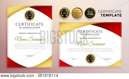 Red And Gold Multipurpose Certificate Template Design