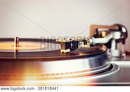 Vinyl Record Player, Bright Lights. Needle On Vinyl Record.