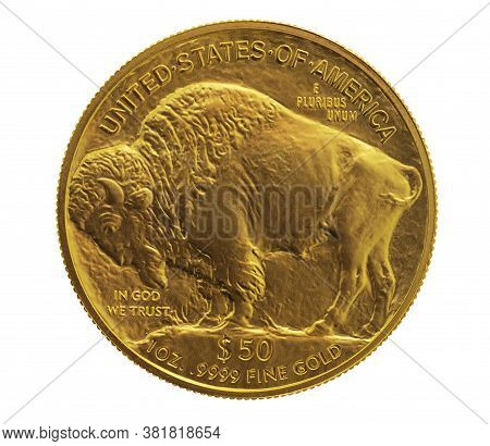 Gold American Buffalo 1 Oz. Coin Used As An Inflation Hedge In Times Of Insecurity, Isolated